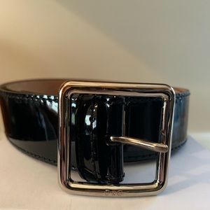 D&G Dolce and Gabbana black patent leather belt